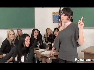 Horny Schoolgirl Pornstar Mass Orgy