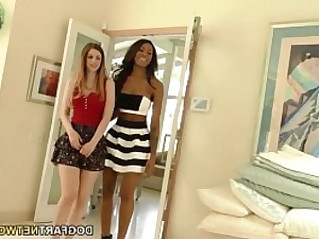 Interracial Action sex scene with Stella Cox and Nadia Jay