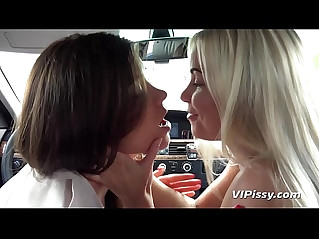 Pissing lesbians get drenched and drink their pee