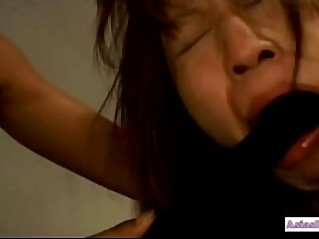 Asian prisoner forced to lick her pussy getting both holes with sticks by g