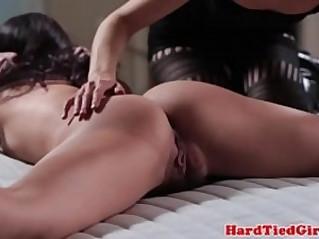 Tied up lezdom sub gets harsh punishment