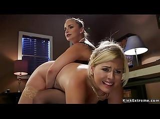Boss lesbian anal fucks blonde