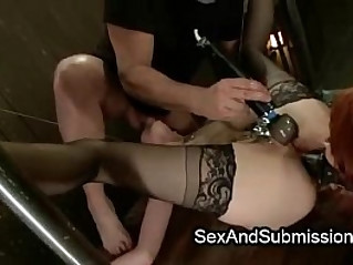 Two female slaves made anal strapon fuck to get attention from their master