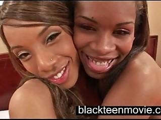 Two black teen cuties in a threesome in Black Ebony Porn music Video