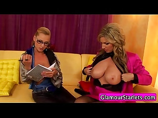 Glam euro lesbos kiss and rip clothes